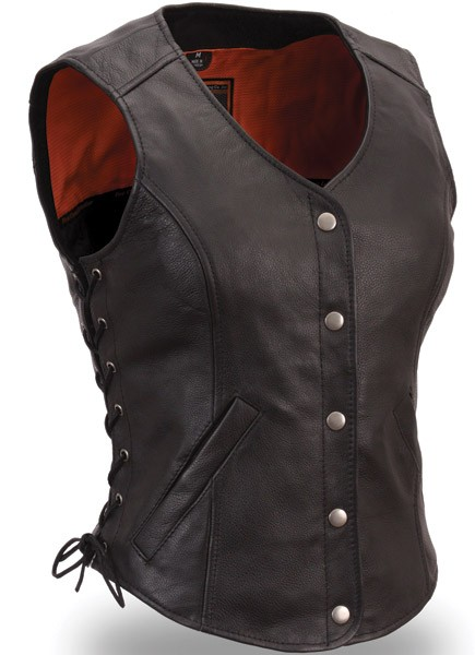 Women's Side Lace Classic Leather Vest