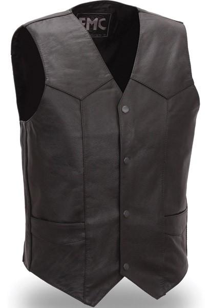 Men's Classic Four Snap Leather Vest