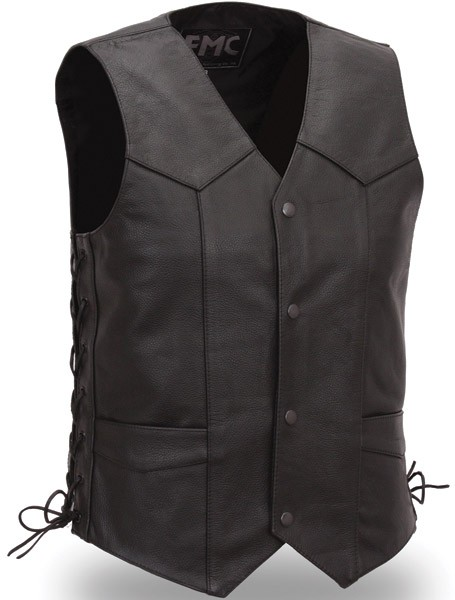 First Manufacturing Men's Classic Four Snap Leather Vest with Side Laces FMM602MB