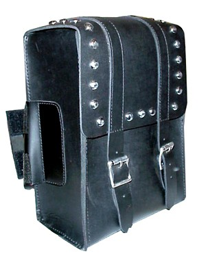 SS20-V Medium Sissy Bar Bag with studs and Velcro strap.