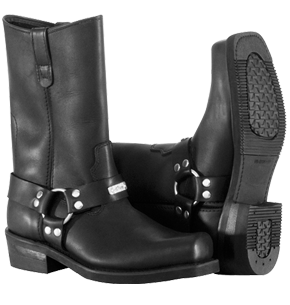 MEN'S TRADITIONAL BLACK SQUARE TOE HARNESS BOOT