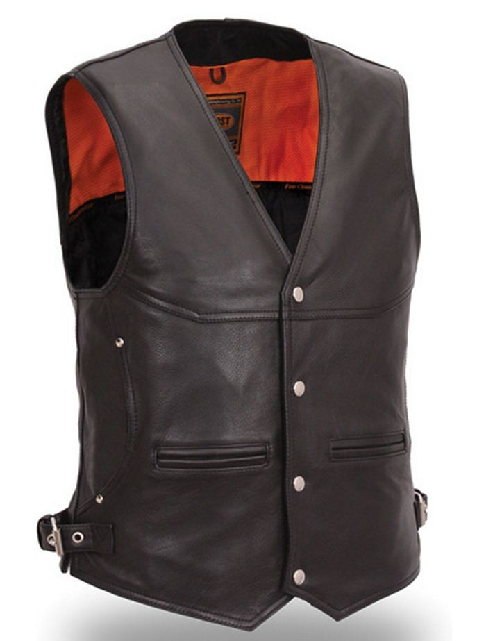 Soft Naked Cowhide Vest with Side Buckles