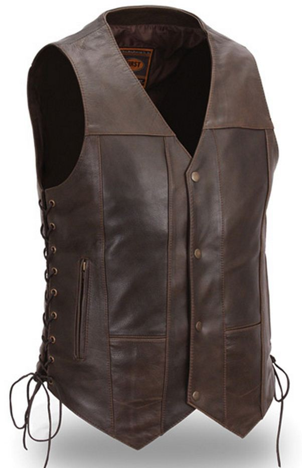 First Manufacturing Mens 10 pocket vest, Brown Cowhide FIM630CRT