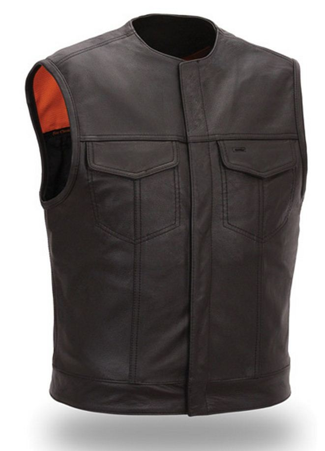 First Manufacturing Mens Concealed Snap Clean Look Vest FIM635CSL