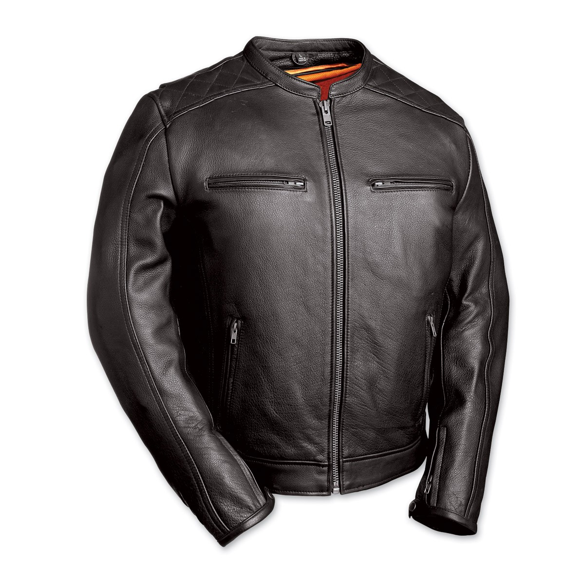 First Manufacturing Co. The High Roller Men's Black Leather Jacket FIM230NOCZ