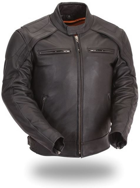 Men's Vented Scooter Jacket with Blacked Out Highly Reflective Piping FIM235CDFZ