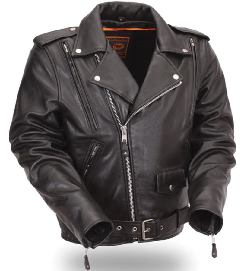 Vented leather motorcycle jacket