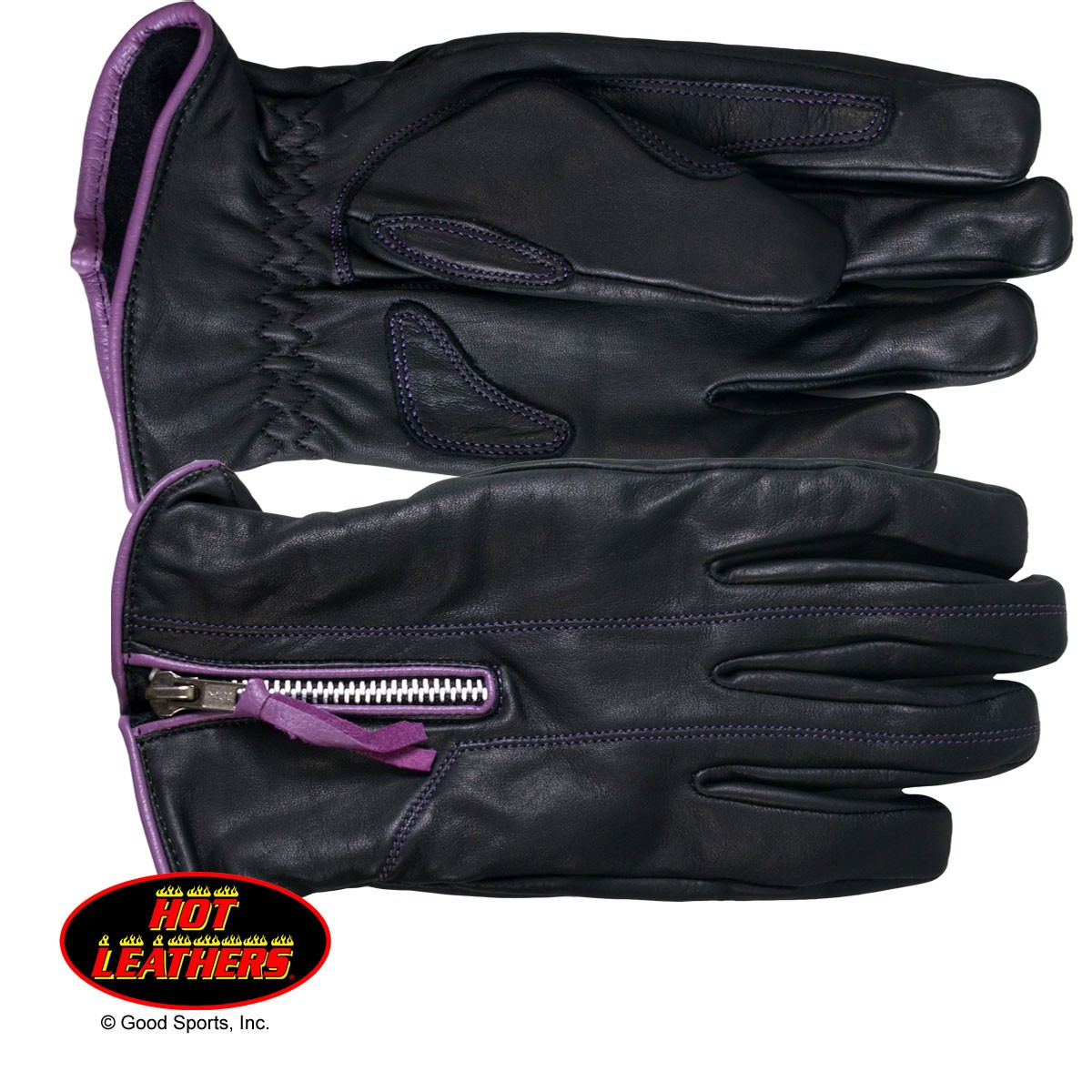 Hot Leathers Ladies Driving Gloves w/Purple Piping