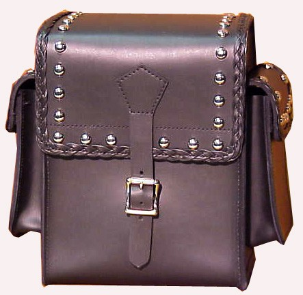 SS24BRS  Sissy Bar Bag with studs, side pouches, and braid.
