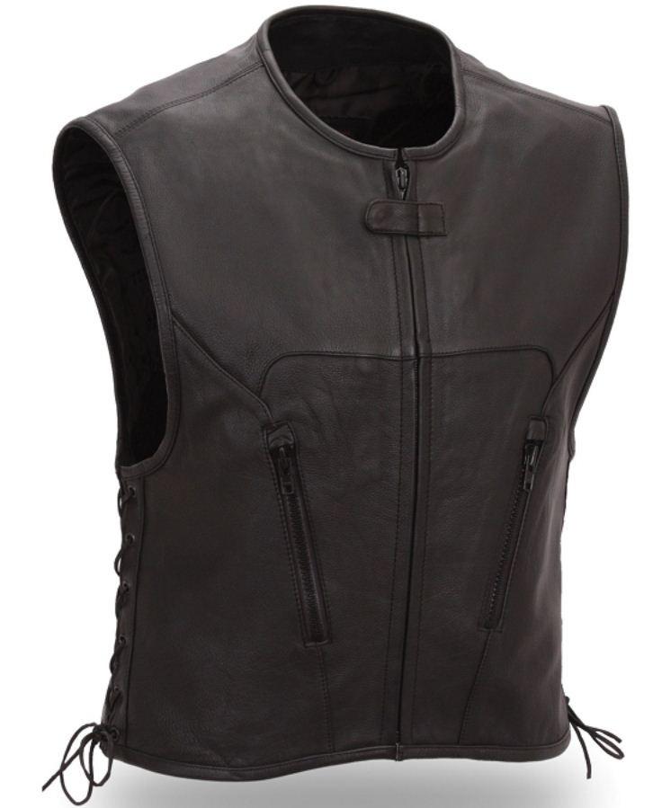 Mens Black Leather Urban Motorcycle Vest Side Lace Single Back Panel