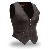 Ladies Leather Form Fitting Vest with Self Adjusting Sides