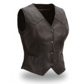 Womens Ladies Black Lambskin Leather Light Biker Vest