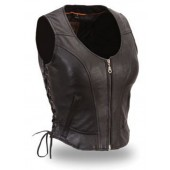 First Classic Womens Ladies Black Clean Side Lace Motorcycle Biker Vest