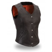 Womens Extremely Stylish Long Length Cowhide Leather Motorcycle Vest