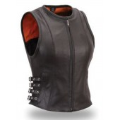 Womens Black Leather Buckled Zip Biker Bomber Vest
