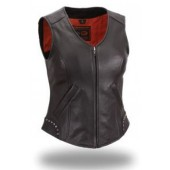 Womens Ladies Black Leather Riveted Studded Biker Motorcycle Vest