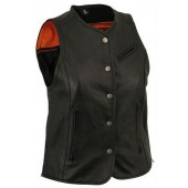 Womens Ladies Black Extra Length Leather Biker Motorcycle Vest