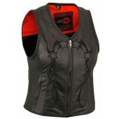 Womens Zip Front Night Reflective Star Leather Motorcycle Vest
