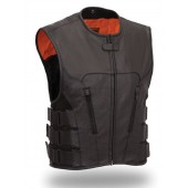 First Manufacturing Mens SWAT Team Style Leather Vest, Ideal for Patches FIM645CSL