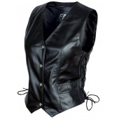 Womens Cowhide Leather Side Lace Concealed Pocket Motorcycle Vest