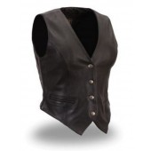 Womens Black Leather Cherokee Vest Naked Cowhide 4 Snap