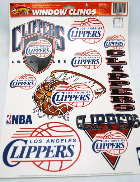 "103I - NBA LA Clippers 17""x12"" Window Clings (12pcs @ $1.00/pc)"