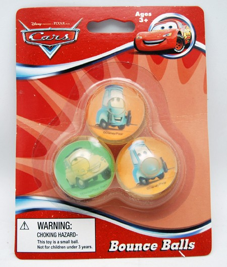 3BALLDC - 38mm Disney Cars 3pk Bounce Ball on Blister Card (12pks @ $1.50/pc)
