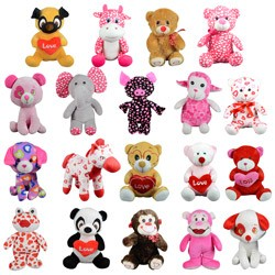 Item# A13G250V - Jumbo 100% Generic Valentine's Plush Kit (54 pcs @ $2.89/pc))