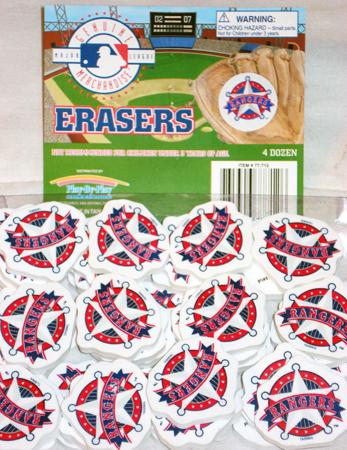 "MLBERA - 1.5"" MLB texas Rangers Erasers (48pcs @ $0.15/pc)"