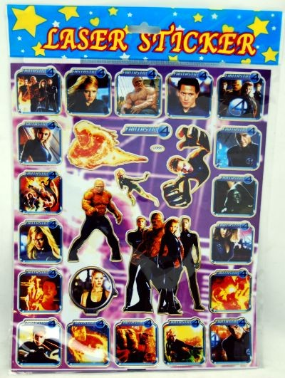 "STICKER38 - Fantastic Four 12""x8""  Laser Sticker Sheets (12pcs @ $0.75/pc)"