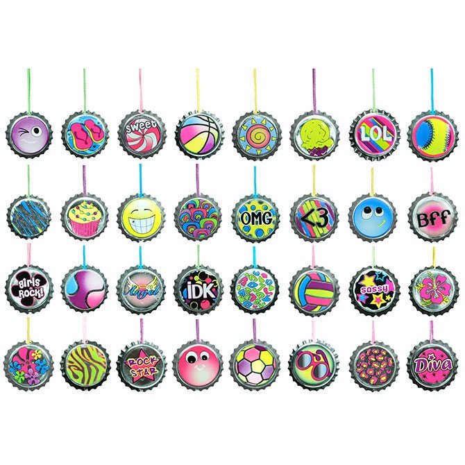 "Item# A1BCNEB 1.5"" Bottle Cap Necklaces (100pcs @ $0.20/pc)"