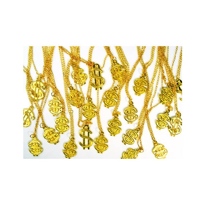 Item# A1CAG1B - Gold-Toned Dollar Sign Necklaces (100pcs @ $0.25/pc)