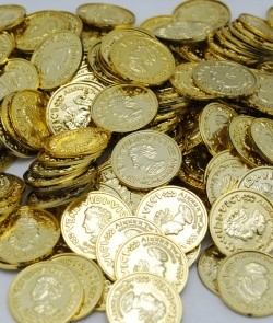 "COIN67 - 1.5"" Gold Coins New (144pcs @ $0.03/pc)"