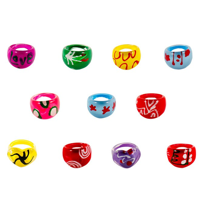 Item# A1GRAFB - Graffiti Rings (100pcs @ $0.10/pc)
