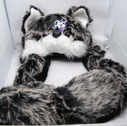 HATFUR8 - Quality Plush Grey Wolf Hat w Fur Hand Warmers (each @ $12.50/pc)