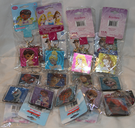 "BR409 - 3"" Assorted Licensed Lucite Foil Keychain on Card (12 pcs @ $0.75/pc)"