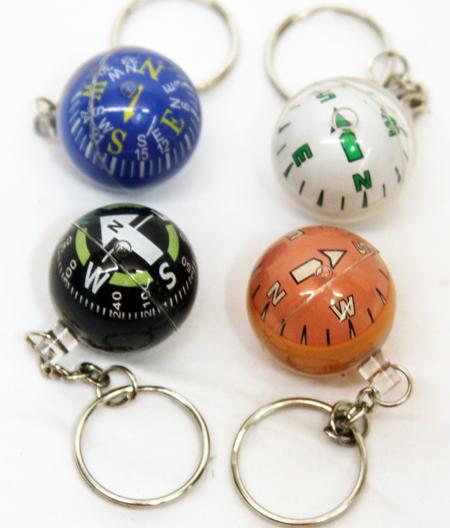 COMPKC2 - Compass Keychains w/ Metal Clip (12pcs @ $0.75/pc)