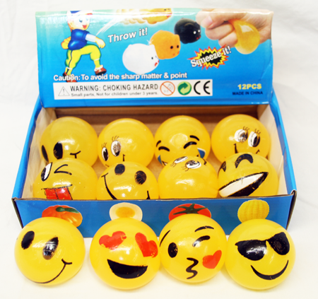 "CZJB178 - 2"" Emoji Splat Balls (12pcs @ $0.75/pc)"