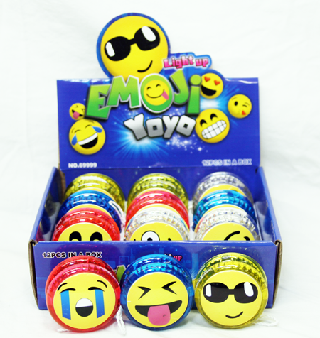"CZJB182 - 2.25"" Light Up Emoji YoYo's (12pcs @ $0.79/pc)"