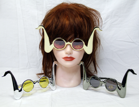"JB147 - 9"" Metallic Wacky Mustache Sunglasses UV 400 (12pcs @ $0.75/pc)"