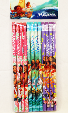 "PENCILM - Disney MOANA Movie Bulk 8"" Pencils (12pcs @ $0.15/pc)"