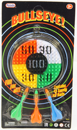 "DARTBULL - Safety Bullseye Dart Board on 10.5"" Card (12pcs @ $1.25/pc)"