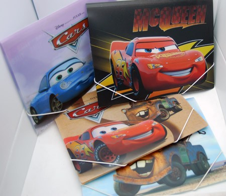 "PORTM1  -  Asst. Disney Cars 12"" x 9.5"" Fold Over Folders w/ Snap String (12pcs @ $1.50/pc)"