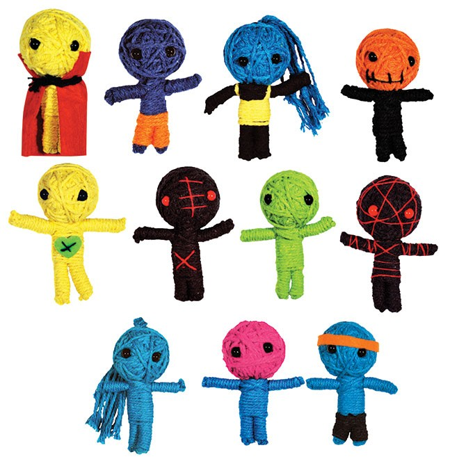 "Item# A1VOODB - 2.5"" Voodoo String Dolls (100pcs @ $0.45/pc)"