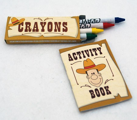 "ACTWES - 4"" Western Activity Book W/ Crayons (12pks @ $0.45/pk)"