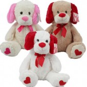 "Item# 26385 - 20"" Plush Sitting Dog w Satin Ribbon (6pcs @ $12.50/pc)"
