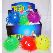 "BR142 - 6"" Assorted Light-Up Puffer Balls w Face (12 pcs @ $1.25/pc)"