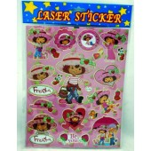 "STICKER37 - Strawberry Shortcake 12""x8""  Laser Sticker Sheets (12psc @ $0.75/pc)"