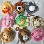 "CZANIP5 - 3"" Plush Zoo Animal Coin Purse Clip Ons (12pcs @ $0.69/pc)"