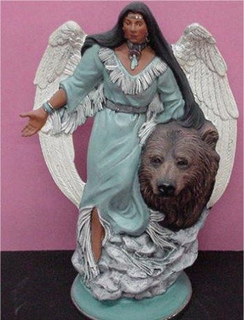 Unpainted Ceramic Angel w/ Bear 12.5""